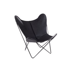 Hardoy Butterfly Chair Neck-Leder Schwarz | Fauteuils d'attente | Manufakturplus