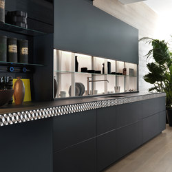Genius Loci | en verre ardoise mat avec V-Motion | Fitted kitchens | Valcucine