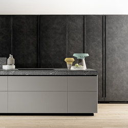 Genius Loci | in matt glass and Cardoso stone drawer | Fitted kitchens | Valcucine