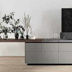 Genius Loci | in matt glass and Cardoso stone drawer | Island kitchens | Valcucine