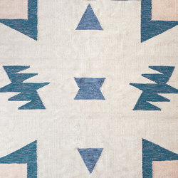 Kelim Rug Large - Blue Triangles | Formatteppiche | ferm LIVING