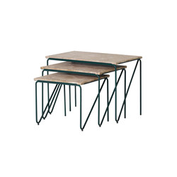 Tryptich Nesting Tables | Cedar Green with Monaco Brown Marble | Tavolini alti | Please Wait to be Seated