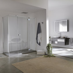 Azure Pivot door with two fixed elements for niche | Shower screens | Inda