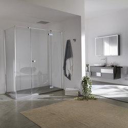 Azure Porte battante et 2 éléments fixes pour niche | Pare-douches | Inda