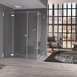 Azure Porta a battente con due elementi fissi per nicchia | Divisori doccia | Inda