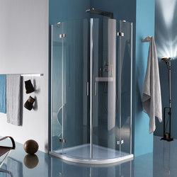 Tilux Demi-ronde avec deux portes battantes et élément fixe | Pare-douches | Inda