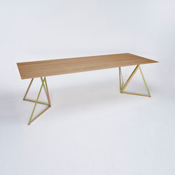 Steel Stand Table - gold galvanized/ oak | Dining tables | NEO/CRAFT
