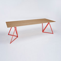 Steel Stand Table - coral red/ oak | Dining tables | NEO/CRAFT