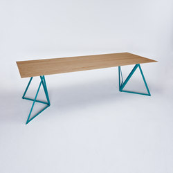 Steel Stand Table - ocean blue/ oak | Dining tables | NEO/CRAFT