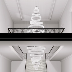Swirl Bespoke Staircase | Chandeliers | Windfall