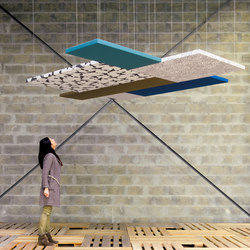 Stereo acoustic panels suspended in clusters | Objetos fonoabsorbentes | Texaa®