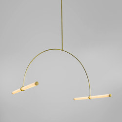 Tube pendant No. 1 - LED light, ceiling, natural brass finish | Suspended lights | Naama Hofman Light Objects