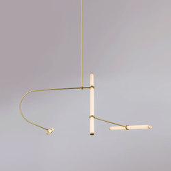 Tube pendant No. 2 - LED light, ceiling, natural brass finish | Suspended lights | Naama Hofman Light Objects