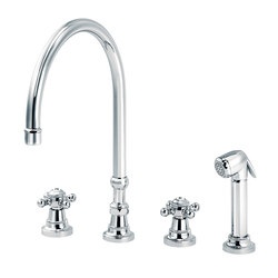 1920-1921 | 4-hole kitchen mixer, handshower, great spout | Griferías de cocina | rvb sa-nv