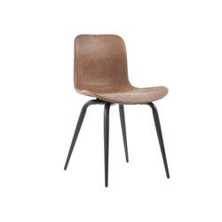 Langue Avantgarde Dining Chair, Black - Leather: Tempur Leather Curio Brown 4001 | Chaises de restaurant | NORR11