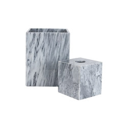 Marble Waste Bin & Tissue Box - Grey | Pattumiere | Pfeifer Studio