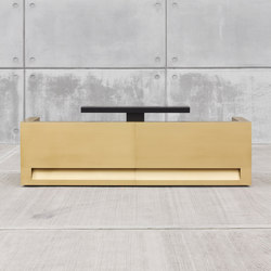 Blok Reception Desk in Brass Configuration 1 | Comptoirs | Isomi