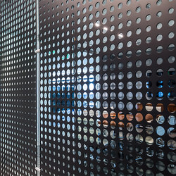 Perforated Metal Room Divider in Custom Pattern (Laser Cut Morph) | Paneles | Moz Designs