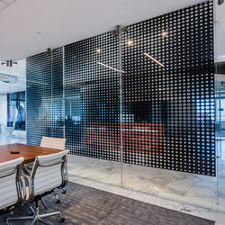 Perforated Metal Room Divider in Custom Pattern (Laser Cut Morph) | Bleche | Moz Designs