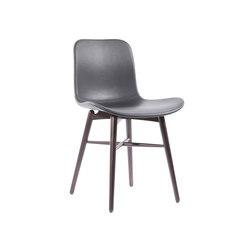 Langue Original Dining Chair, Dark Stained - Leather: Premium Leather Black 41599 | Sillas para restaurantes | NORR11