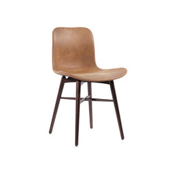 Langue Original Dining Chair, Dark Stained - Leather: Tempur Leather Curio Brown 4001 | Sillas para restaurantes | NORR11