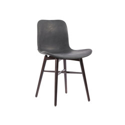 Langue Original Dining Chair, Dark Stained - Leather: Vintage Leather Anthracite 21003 | Sillas para restaurantes | NORR11