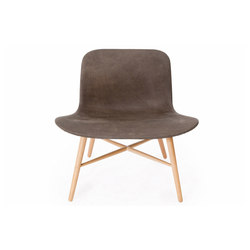 Langue Original Lounge Chair, Natural / Leather: Tempur Leather Carbon Brown 4004 | Loungesessel | NORR11