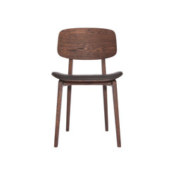 NY11 Dining Chair, Dark Stained - Premium Leather Black | Chaises | NORR11