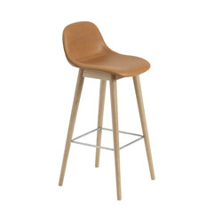 Fiber Bar Stool Wood Base Cognac Leather Stools Muuto