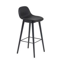 Fiber Bar Stool | wood base - black leather | Bar stools | Muuto
