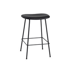 Fiber Bar Stool | tube base - black leather | Sgabelli bancone | Muuto