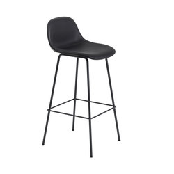 Fiber Bar Stool | tube base  - black leather | Barhocker | Muuto