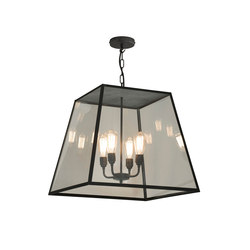 7635 Quad Pendant, XL and 4 L/holders, Weathered Brass, Closed Top | Suspensions | Original BTC