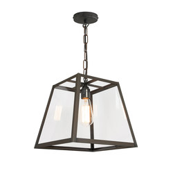 7636 Quad Pendant Light, Int. Glass, Medium, Weather Brass, Clear | Suspensions | Original BTC