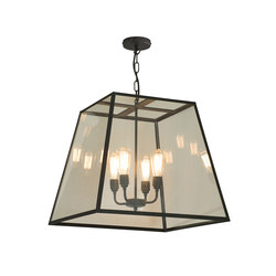 7636 Quad Pendant, XL and 4 Lamp Holders, Weathered Brass, Clear | Iluminación general | Original BTC