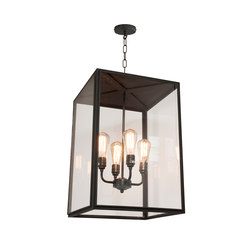 7638 Square Pendant, XL & 4 L/H, Closed Top, Weather Brass, Clear | Suspensions | Original BTC