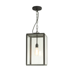 7638 Square Pendant, Ext Glass, Closed Top, Weather Brass, Clear | Iluminación general | Original BTC