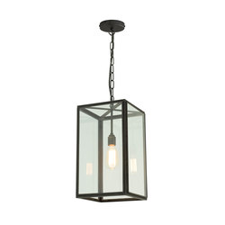 7639 Square Pendant, Externally Glazed, Weathered Brass, Clear Glass | Lampade sospensione | Original BTC