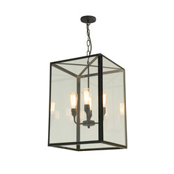 7639 Square Pendant, Externally Glazed, XL & 4 L/holders, Weathered Brass, Clear | Suspensions | Original BTC