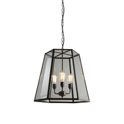 7651 Hex Pendant, Extra Large, Weathered Brass, Clear Glass | Suspensions | Original BTC