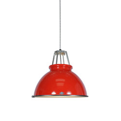 Titan Size 3 Pendant Light, Red with Etched Glass | Allgemeinbeleuchtung | Original BTC