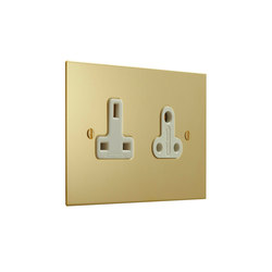 Unlacquered Brass double 13amp and 5amp socket | Prese inglesi | Forbes & Lomax