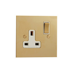 Unlacquered Brass single 13amp socket | Prese inglesi | Forbes & Lomax