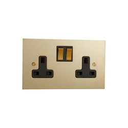 Unlacquered Brass double 13amp socket with black insert | British sockets | Forbes & Lomax