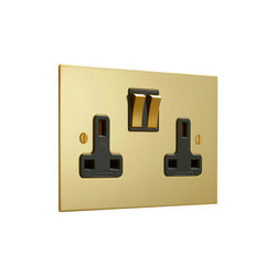 Unlacquered Brass double 13amp socket with black insert | Prese inglesi | Forbes & Lomax