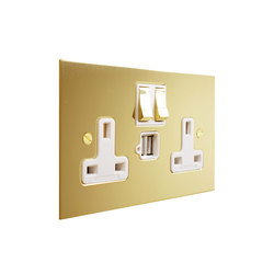 Unlacquered Brass double 13amp socket with USB | Prese inglesi | Forbes & Lomax