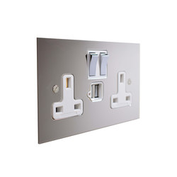 Nickel Silver double 13amp socket with USB | British sockets | Forbes & Lomax