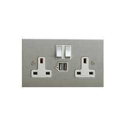 Stainless Steel double 13amp socket with USB | British Standard | Forbes & Lomax