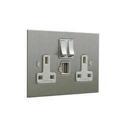 Stainless Steel double 13amp socket with USB | Prese inglesi | Forbes & Lomax