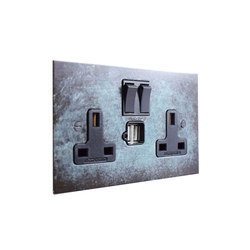 Verdigris double 13amp socket with USB | British sockets | Forbes & Lomax